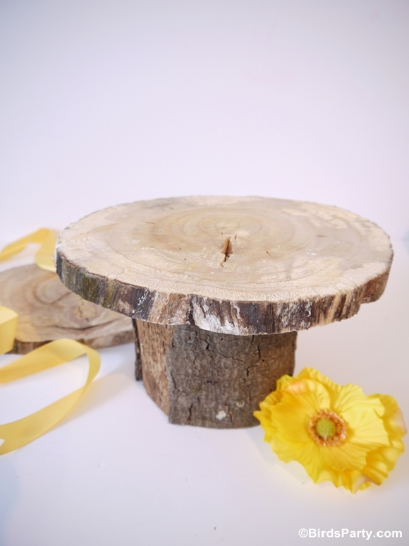 DIY Rustic Log Tree Stump Pedestal Cake Stand - BirdsParty.com