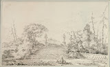 Stairs in a Park by Jean-Honore Fragonard - Landscape Drawings from Hermitage Museum
