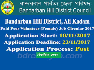 Ali Kadam, Bandarban Hill District Paid Peer Volunteer (Female) job circular