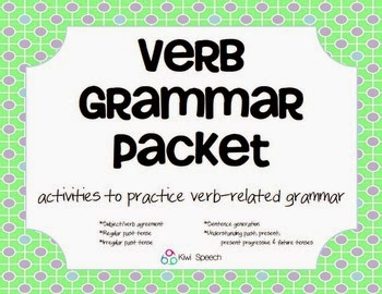 https://www.teacherspayteachers.com/Product/Verb-Grammar-Packet-activities-for-regular-and-irregular-verb-use-1237482