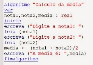 algorítimo cálculo da média visual g