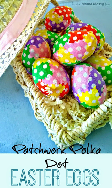 Patchwork Polka Dot Easter Eggs - Perfect Pastel Patchwork Eggs to decorate for Spring and Easter! A quick, easy, fun craft from Creative Mama Messy House