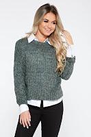 Pulover PrettyGirl verde casual cu croi larg din material tricotat accesorizat cu snur la spate