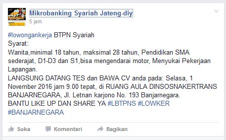 Loker BTPN Syariah Banjarnegara