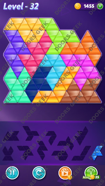 Block! Triangle Puzzle Challenger Level 32 Solution, Cheats, Walkthrough for Android, iPhone, iPad and iPod