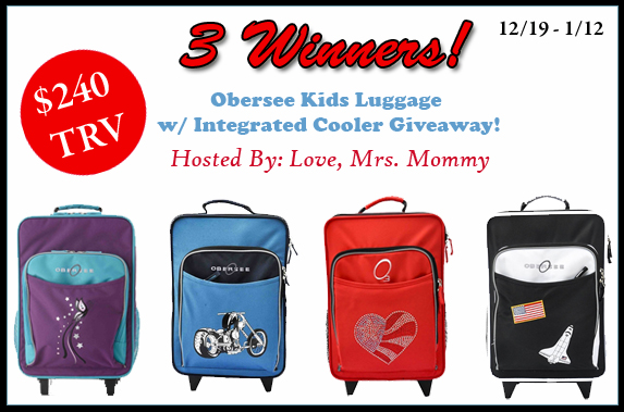 Winner's Choice Obersee Kids Luggage w/ Integrated Cooler Giveaway! 1/12 @oberseeusa