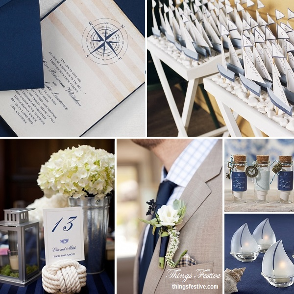 Nautical Wedding Theme in Navy Blue  Bisque  Things Festive Weddings  Events