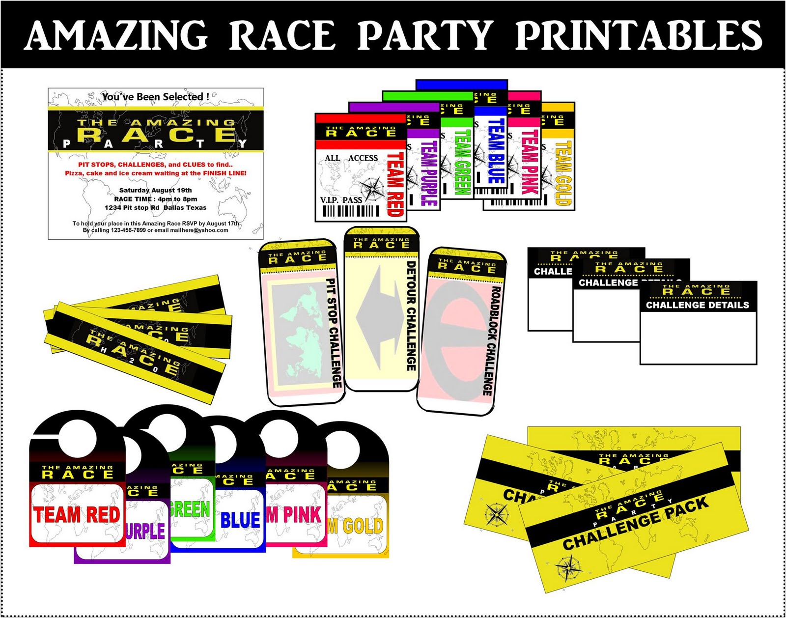 Amazing race logo printable bing images for Amazing race birthday party templates