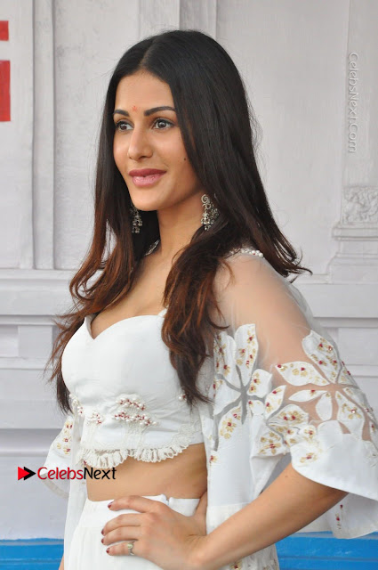 Telugu Actress Amyra Dastur Stills in White Skirt and Blouse at Anandi Indira Production LLP Production no 1 Opening  0032