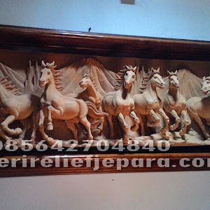 Ukiran Relief Kuda Lari Jepara