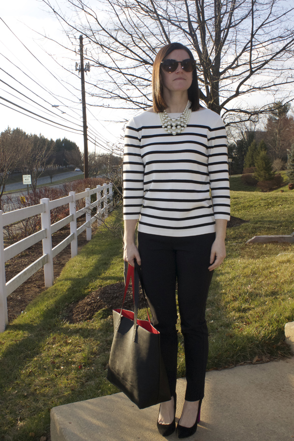 Classic, the Classics, striped sweater, Who What Wear x Target, Target sweater, Black dress pants, Black heels, Zara heels, Old Navy tote, black tote