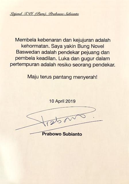 Prabowo Tulis Pesan untuk Novel Baswedan