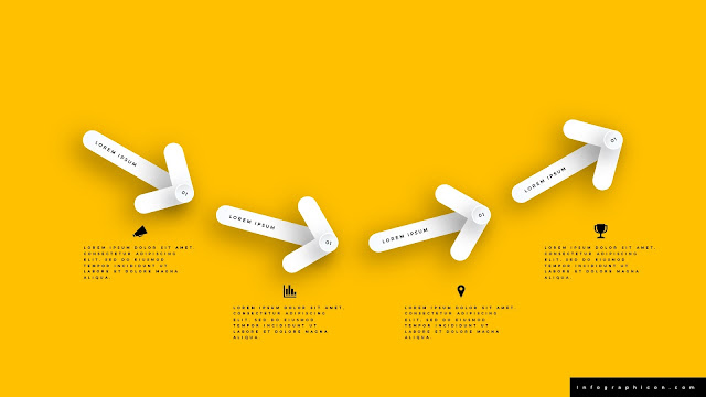4 Step Clean Arrow Infographics for PowerPoint Templates in Yellow Background