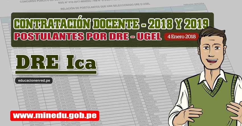 DRE Ica: Lista de Postulantes por UGEL DRE - Contrato Docente 2018 (.PDF) www.dreica.gob.pe