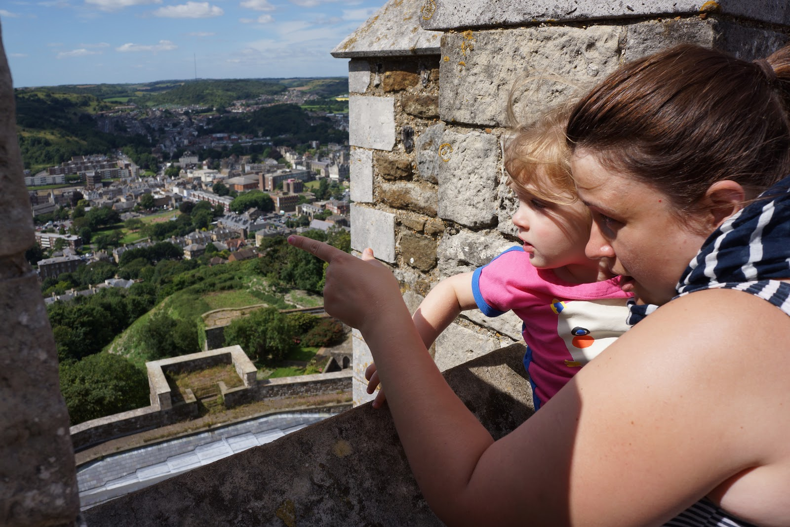 mum and daughter at a castle