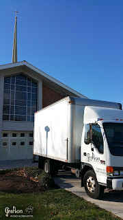 Our truck outside of Mother of Divine Providence as we begin installing the new Allen Organ