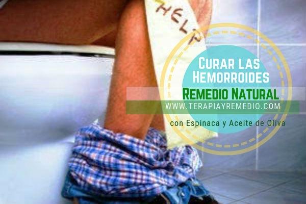 Remedio natural para curar las hemorroides con espinaca y aceite de oliva apropiado para bajar la hinchazón