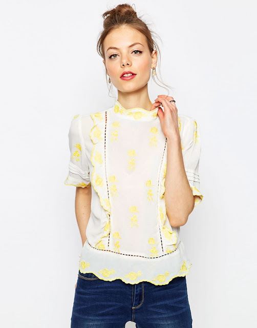 white blouse yellow embroidery