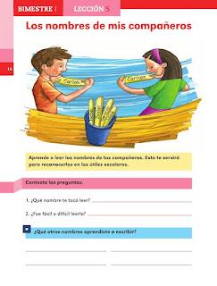 Apoyo Primaria Español 1er grado lección 5 Los nombres de mis compañeros