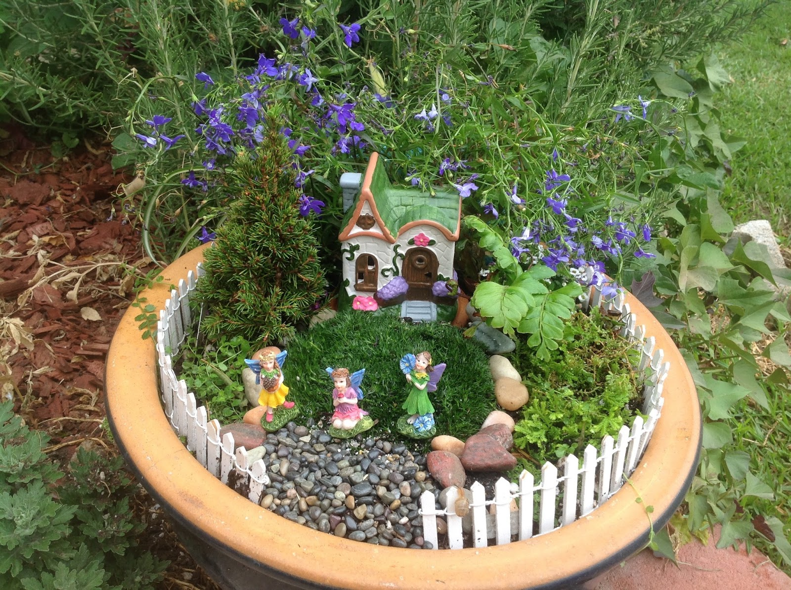 Image result for fairy garden with moss