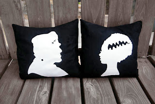 frankenstein and bride of frankenstein silhouette pillow from A Black Star etsy halloween decorations