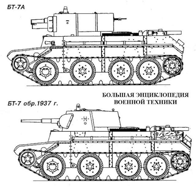 Легкий колесно-гусеничный танк БТ-7А и БТ-7 образца 1937 года