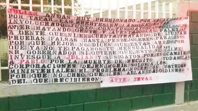 Para el señor Gobernador Zetas cuelgan narcomanta en escuela de San Luis Pososí