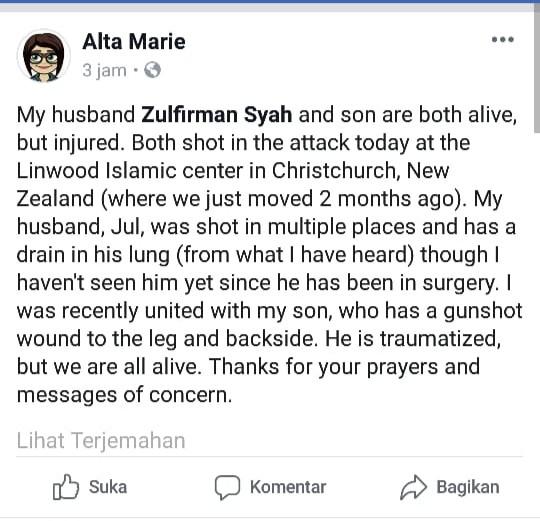 Suami dan Anak Jadi Korban Penembakan, Alta Marie Ungkapkan Ketegaran