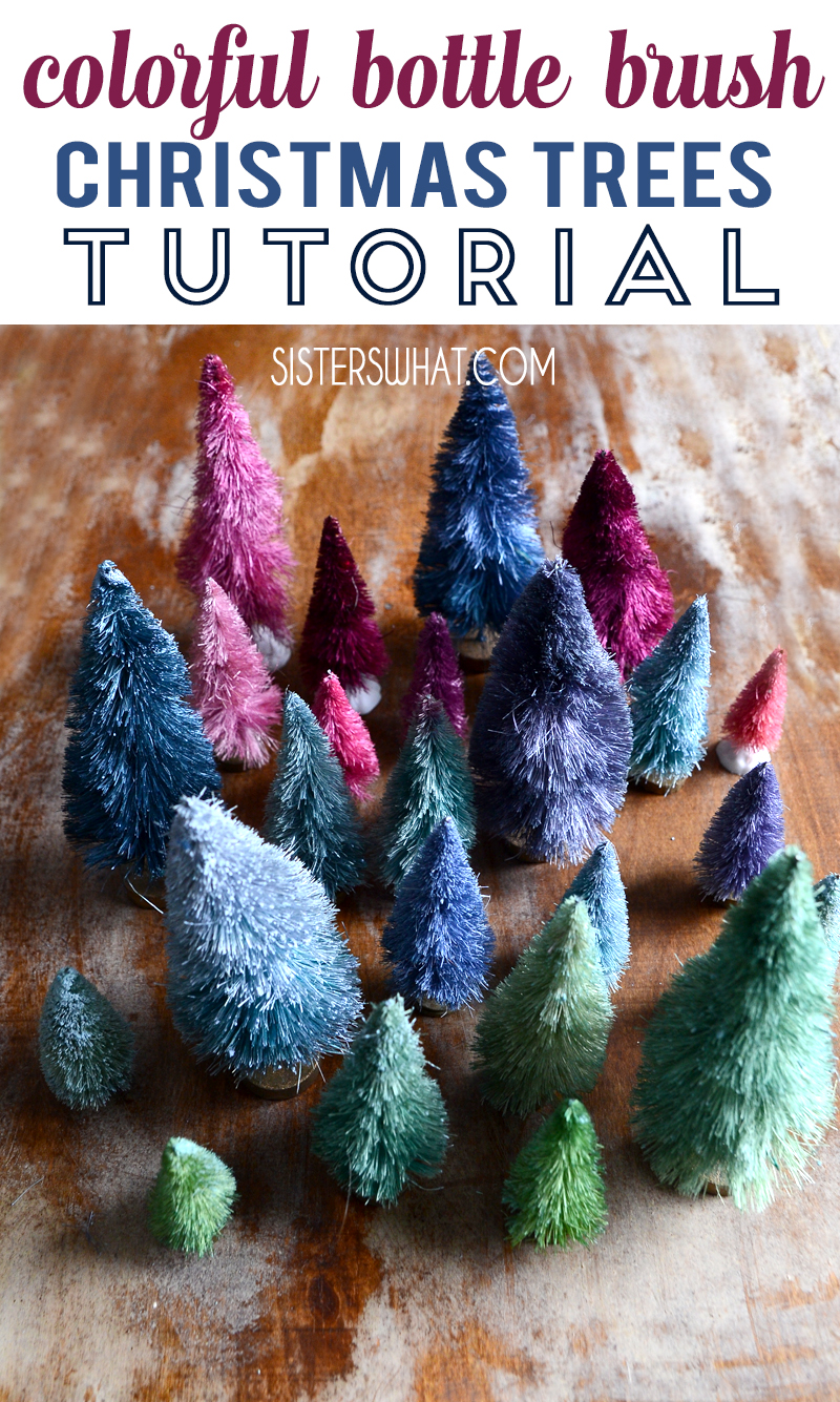 colorful bottle brush christmas miniature trees