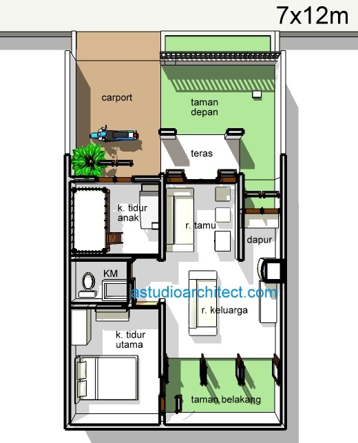 denah rumah minimalis sederhana ukuran 7x12m 1