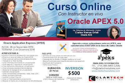 Curso Online con Instructor en Vivo - Oracle APEX 5.0