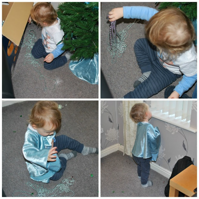 collage of toddler playing with beads and wearing the Christmas tree cape.