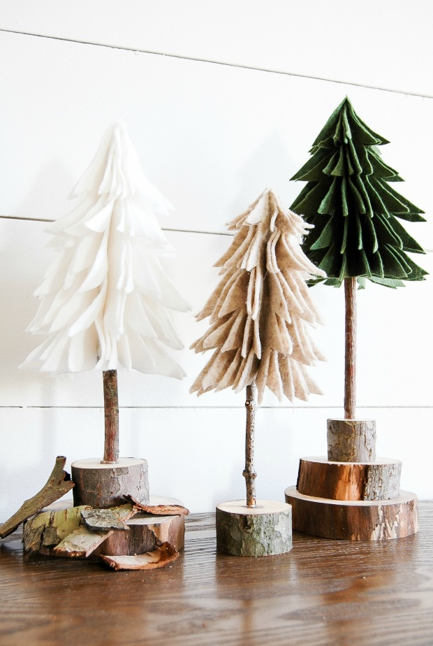 DIY rustic felt trees make for the perfect inexpensive winter decor.