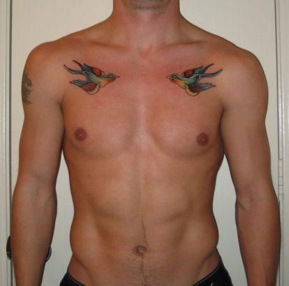 Pássaros voando tatuagem para homens no peito