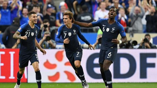 France Paul Pogba and Anthonio Griezmann celebrate