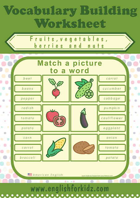 English worksheet to learn names of fruits and vegetables