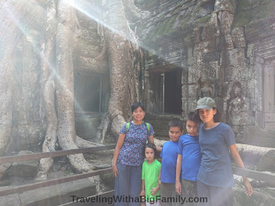 Large family traveling to Angkor Wat, Cambodia