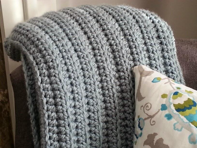 Modern Grace Design Chunky Ribbed Crochet Blanket Free Pattern