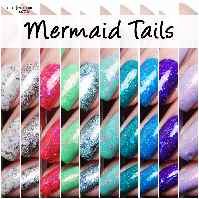 xoxoJen's swatch collage of Glam Polish Mermaid Tails