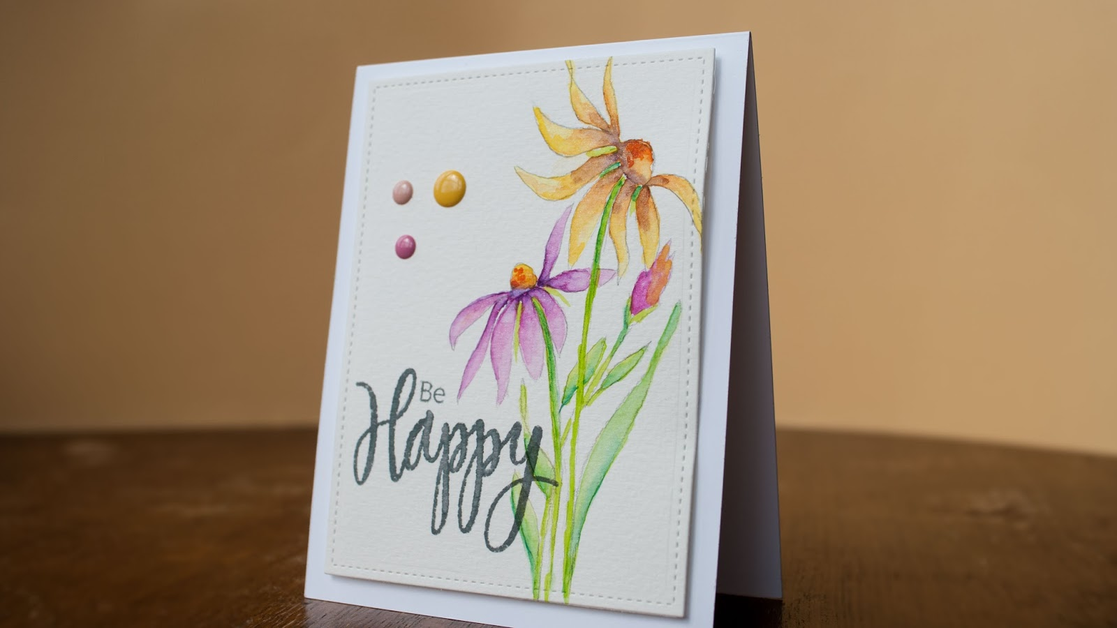 watercolor card be happy, cone flowers hand drawn finished project side view