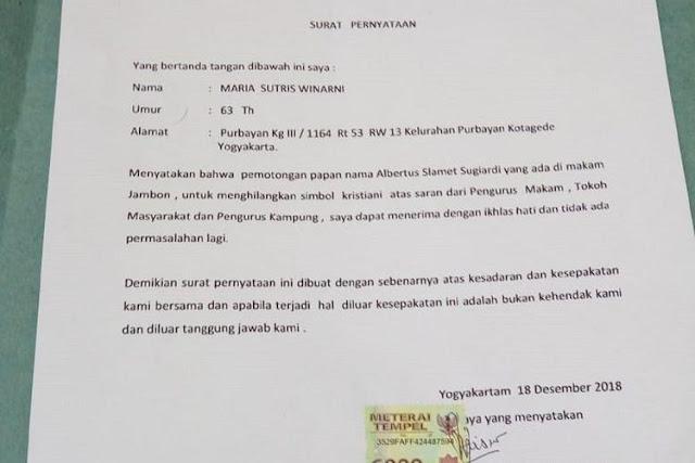 Jangan Dulu Menghujat, Ini Kronologi Lengkap di Balik Pemotongan Nisan Salib di Yogyakarta