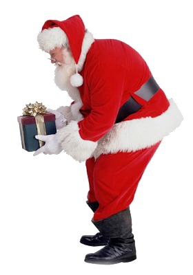 Santa claus png with gift HD