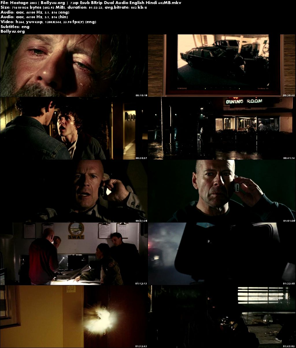 Hostage 2005 BluRay 650Mb Hindi Dual Audio 720p ESub Download