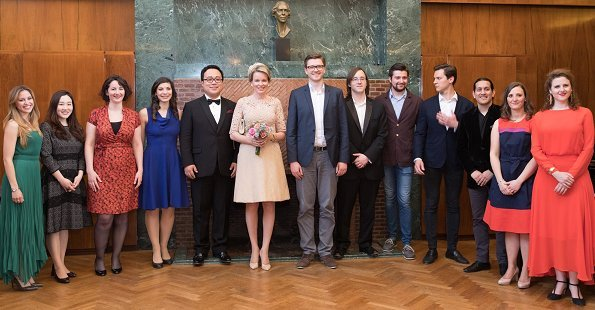 Queen Mathilde attended award ceremony of the Queen Elisabeth Competition for Voice 2018 held at Music Chapel. Samuel Hasselhorn