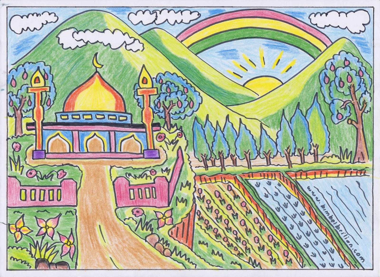 Gambar Masjid Yang Mudah Digambar Beserta Warnanya Nusagates