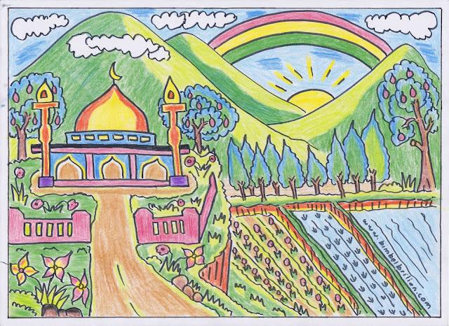 11. Gambar Pelangi, Masjid, Pegungan yang indah