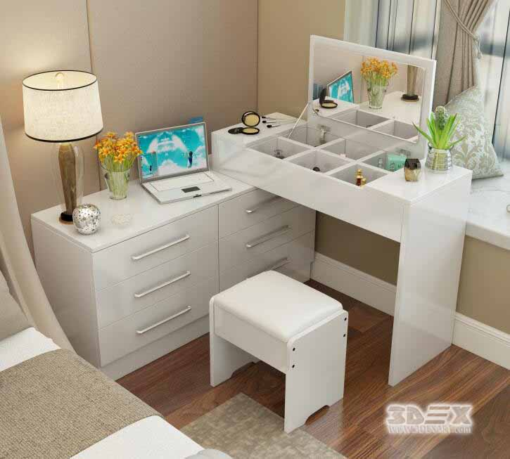 Latest corner dressing table designs for small bedroom for Corner table for bedroom