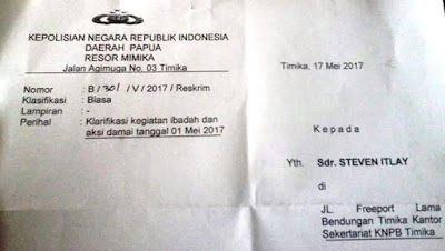 Terkait Aksi 1 Mei Ketua KNPB Timika, Steven Itlay Terima Surat Polisi Untuk Klarifikasi
