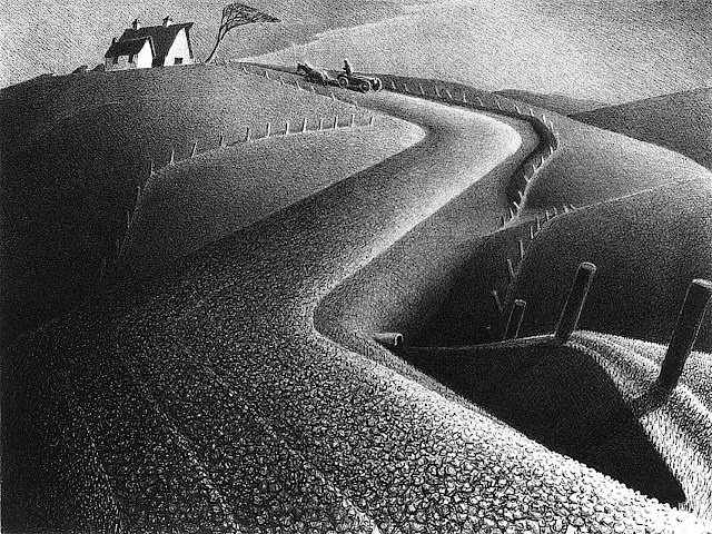Grant Wood art of farm