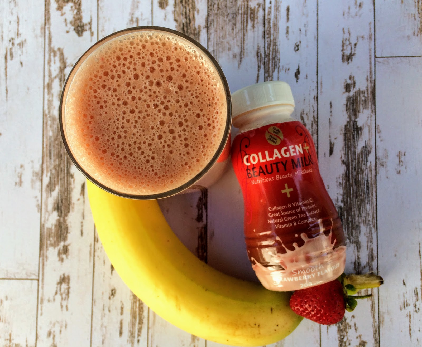 Strawberry and banana smoothie made with collagen beauty milk